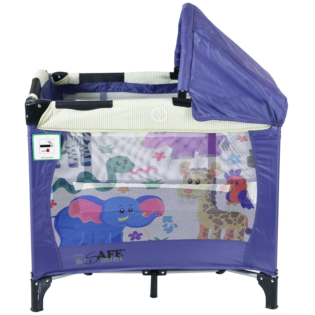 iSafe Mini Travel Cot With Bassinet And Canopy - Safari 81 x 56 x 84 cm - Baby Travel UK  - 5