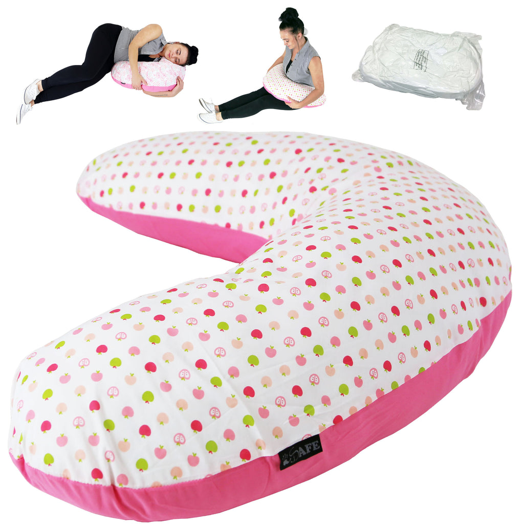 iSafe Pregnancy Maternity And Feeding Pillow Apple Land + Vacuum Storage Bag + Pillow Case - Baby Travel UK  - 1