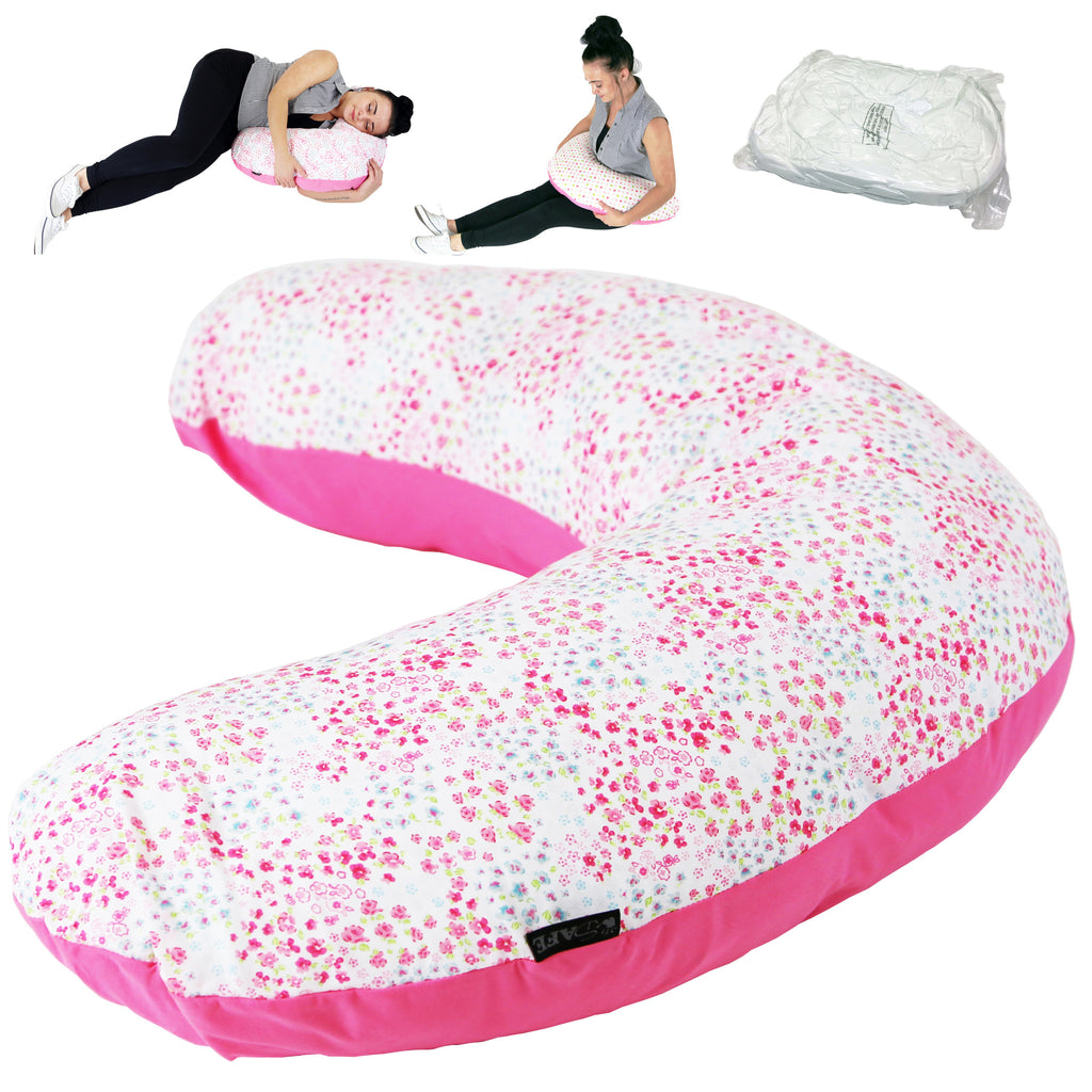 iSafe Mini Nursing Maternity Pillow Bed Of Roses + Vacuum Storage Bag + Pillow Case … - Baby Travel UK  - 1