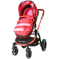 i-Safe System - Bow Dots Trio Travel System Pram & Luxury Stroller 3 in 1 Complete With Car Seat, Base, Bag, Bedding,Console Rain Covers & Foot Muffs - Baby Travel UK  - 2