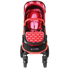 i-Safe System - Bow Dots Trio Travel System Pram & Luxury Stroller 3 in 1 Complete With Car Seat, Base, Bag, Bedding,Console Rain Covers & Foot Muffs - Baby Travel UK  - 6