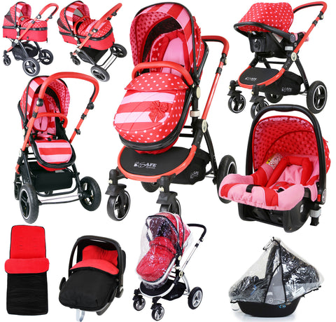 i-Safe System - Bow Dots Trio Travel System Pram & Stroller 3 in 1 Complete With Car Seat, Rain Covers & Foot Muffs