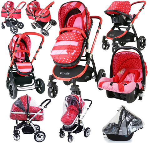 i-Safe System - Bow Dots Trio Travel System Pram & Luxury Stroller 3 in 1 Complete With Car Seat And Rain Covers