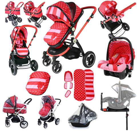 i-Safe System - Bow Dots Trio Travel System Pram & Luxury Stroller 3 in 1 Complete With Car Seat, Base And Rain Covers