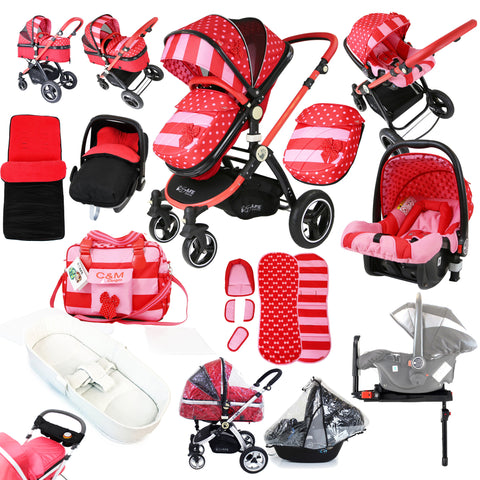 i-Safe System - Bow Dots Trio Travel System Pram & Luxury Stroller 3 in 1 Complete With Car Seat, Base, Bag, Bedding,Console Rain Covers & Foot Muffs