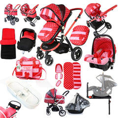 i-Safe System - Bow Dots Trio Travel System Pram & Luxury Stroller 3 in 1 Complete With Car Seat, Base, Bag, Bedding,Console Rain Covers & Foot Muffs - Baby Travel UK  - 1