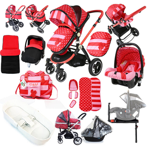 i-Safe System - Bow Dots Trio Travel System Pram & Luxury Stroller 3 in 1 Complete With Car Seat, Base, Bag, Bedding, Rain Covers & Foot Muffs