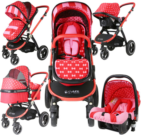 SALE!!! i-Safe System - Bow Dots Trio Travel System Pram & Luxury Stroller 3 in 1 Complete With Car Seat