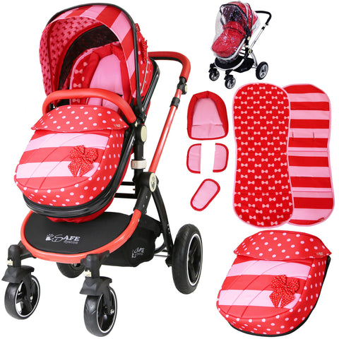 iSafe Baby Pram System 2in1 - Bow Dots Design