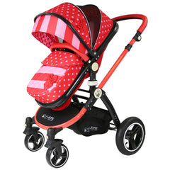 i-Safe System - Bow Dots Trio Travel System Pram & Luxury Stroller 3 in 1 Complete With Car Seat, Base, Bag, Bedding,Console Rain Covers & Foot Muffs - Baby Travel UK  - 7
