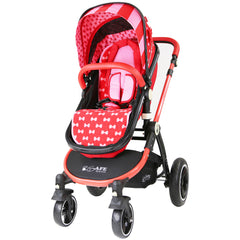 i-Safe System - Bow Dots Trio Travel System Pram & Luxury Stroller 3 in 1 Complete With Car Seat, Base, Bag, Bedding,Console Rain Covers & Foot Muffs - Baby Travel UK  - 3