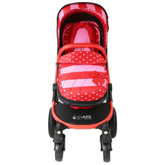 i-Safe System - Bow Dots Trio Travel System Pram & Luxury Stroller 3 in 1 Complete With Car Seat, Base, Bag, Bedding,Console Rain Covers & Foot Muffs - Baby Travel UK  - 4