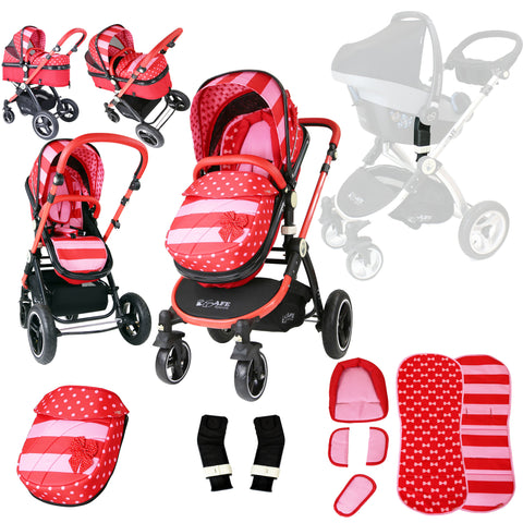 iSafe Baby Pram System 2in1 - Bow Dots Complete With Adaptors For Maxi Cosi Pebble Carseat