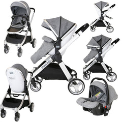 Marvel 3in1 Pram - Dove Grey Pram Travel System (+ Luxury Carrycot + Car Seat+ x2 Raincovers + x2 Footmuffs) - Baby Travel UK  - 19