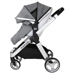 Marvel 3in1 Pram - Dove Grey Pram Travel System (ISOFIX Base + Luxury Carrycot + Car Seat+ x2 Raincovers + x2 Footmuffs) - Baby Travel UK  - 6