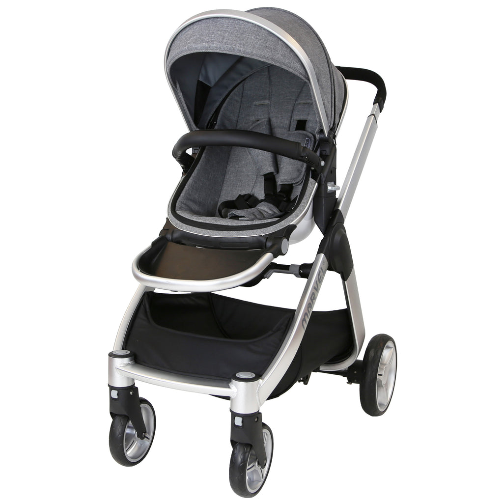Marvel 3in1 Pram - Dove Grey Pram Travel System (+ Luxury Carrycot + Car Seat) - Baby Travel UK  - 8