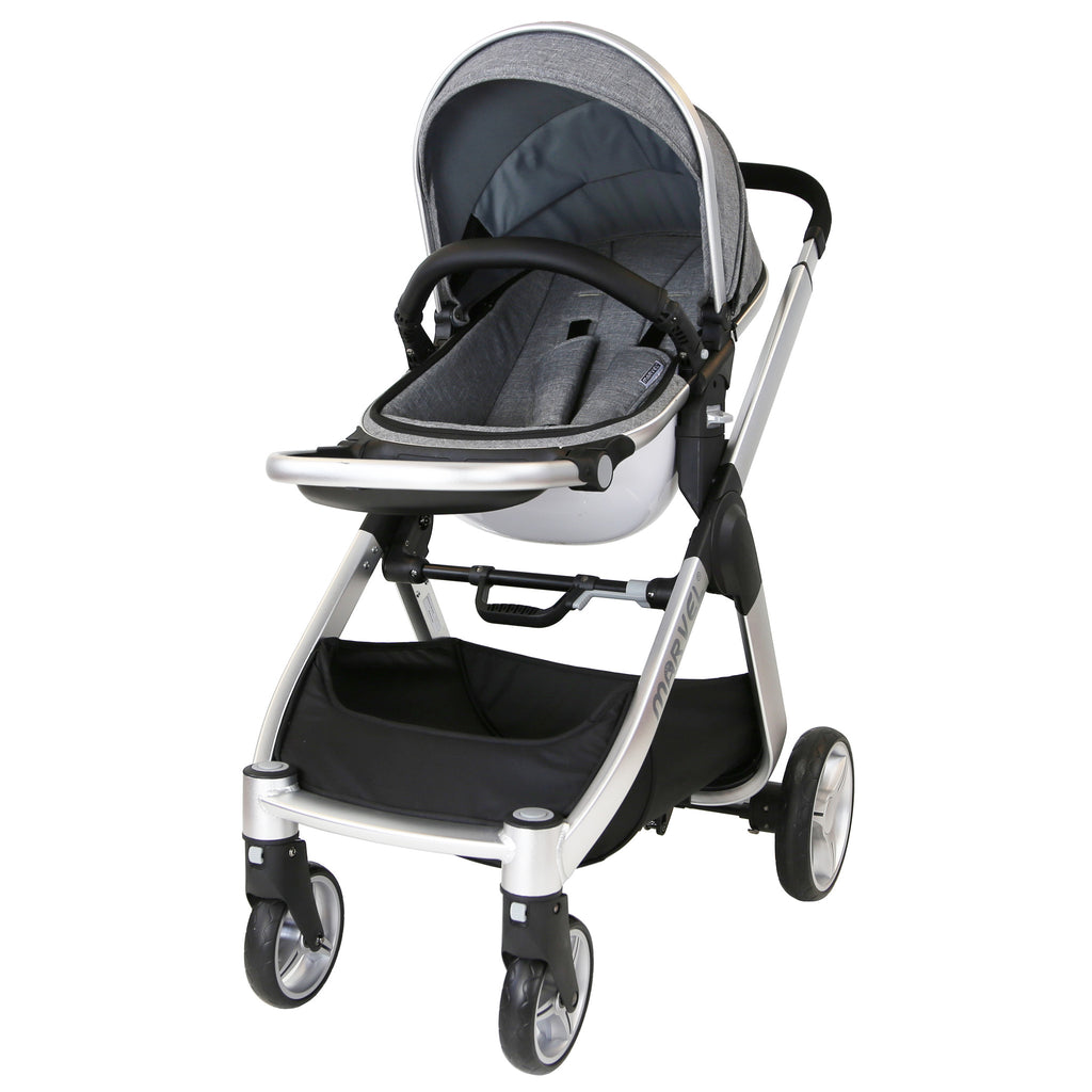 Marvel 3in1 Pram - Dove Grey Pram Travel System (+ Luxury Carrycot + Car Seat) - Baby Travel UK  - 9