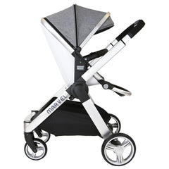 Marvel 3in1 Pram - Dove Grey Pram Travel System (ISOFIX Base + Luxury Carrycot + Car Seat+ x2 Raincovers + x2 Footmuffs) - Baby Travel UK  - 11