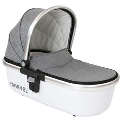 Marvel 3in1 Pram - Dove Grey Pram Travel System (ISOFIX Base + Luxury Carrycot + Car Seat+ x2 Raincovers + x2 Footmuffs) - Baby Travel UK  - 14
