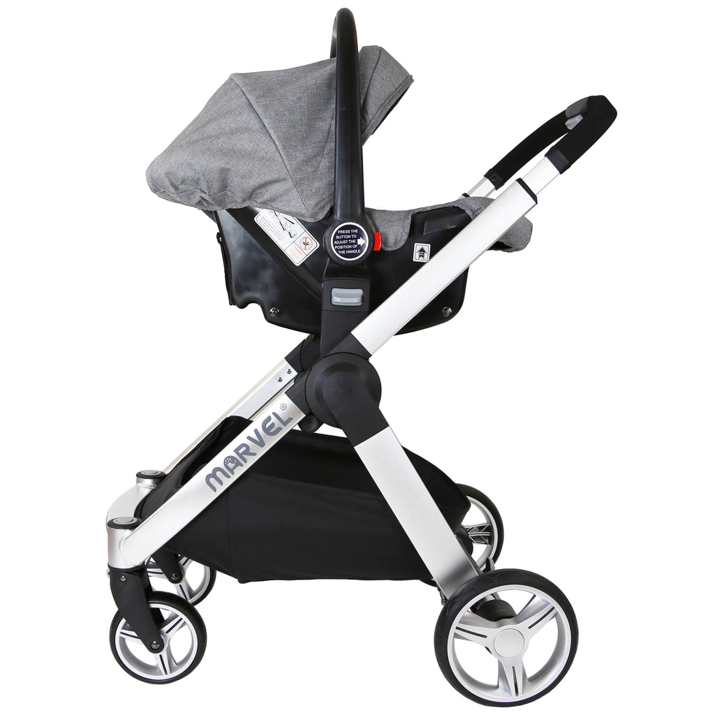 Marvel 3in1 Pram - Dove Grey Pram Travel System (+ Luxury Carrycot + Car Seat) - Baby Travel UK  - 4