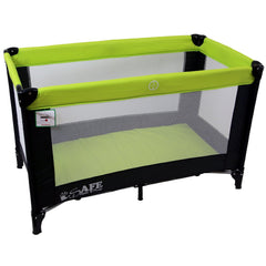 iSafe Rest & Play Luxury Travel Cot/Playpen - Lime (Black/Lime) 120 cm x 60 cm Complete With Mattress - Baby Travel UK  - 5