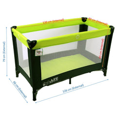iSafe Rest & Play Luxury Travel Cot/Playpen - Lime (Black/Lime) 120 cm x 60 cm Complete With Mattress - Baby Travel UK  - 3