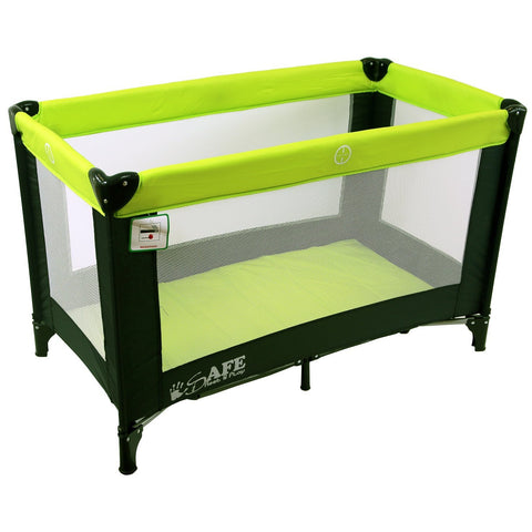 SALE!!! iSafe Rest & Play Luxury Travel Cot/Playpen - Lime (Black/Lime) 120 cm x 60 cm