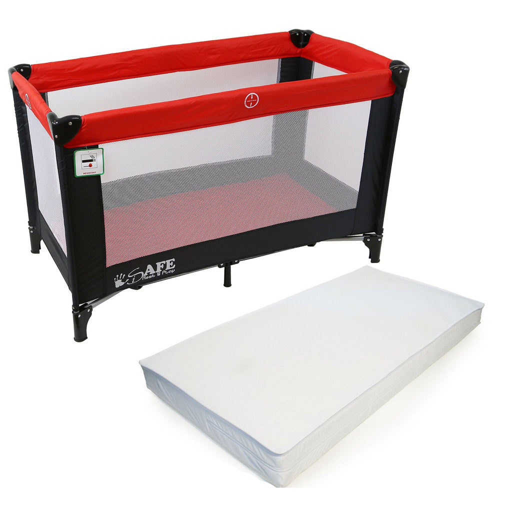 iSafe Rest & Play Luxury Travel Cot/Playpen - Warm Red (Black/Red) 120 cm x 60 cm Complete With Mattress - Baby Travel UK  - 1
