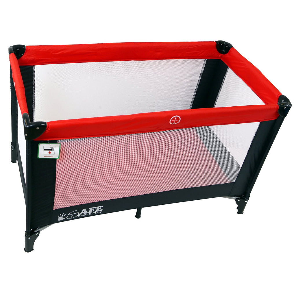 iSafe Rest & Play Luxury Travel Cot/Playpen - Warm Red (black/red) 120 Cm X 60 Cm - Baby Travel UK  - 1