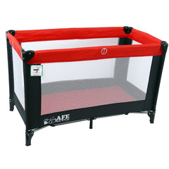 iSafe Rest & Play Luxury Travel Cot/Playpen - Warm Red (Black/Red) 120 cm x 60 cm Complete With Mattress - Baby Travel UK  - 3