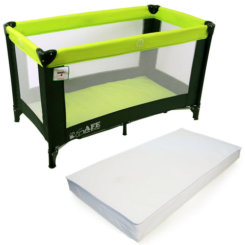 iSafe Rest & Play Luxury Travel Cot/Playpen - Lime (Black/Lime) 120 cm x 60 cm Complete With Mattress
