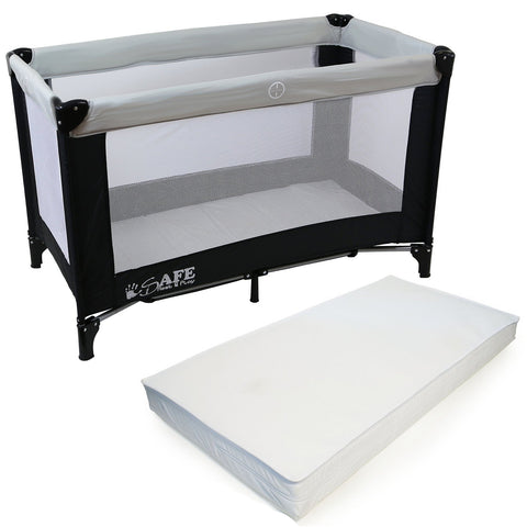 iSafe Rest & Play Luxury Travel Cot/Playpen - MoonStone (Black/Grey) 120 cm x 60 cm Complete With Mattress