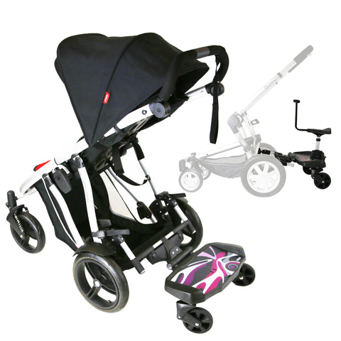 iSafe SegBoard Buggy Board Sit Or Step Pram Board - Splash Complete With Saddle Seat
