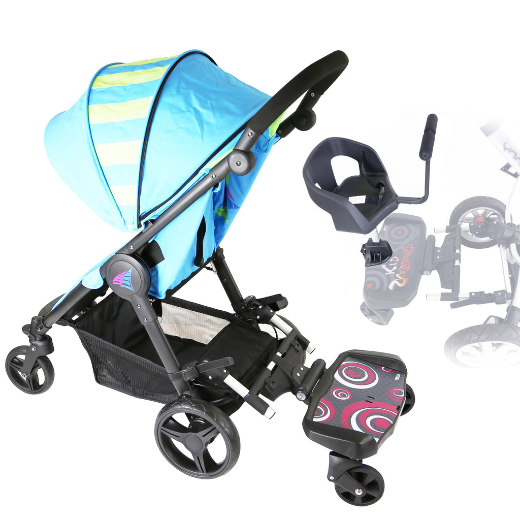iSafe SegBoard Buggy Board Sit Or Step Pram Board - Swirl Complete With Saddle Seat PLUS - Baby Travel UK  - 1