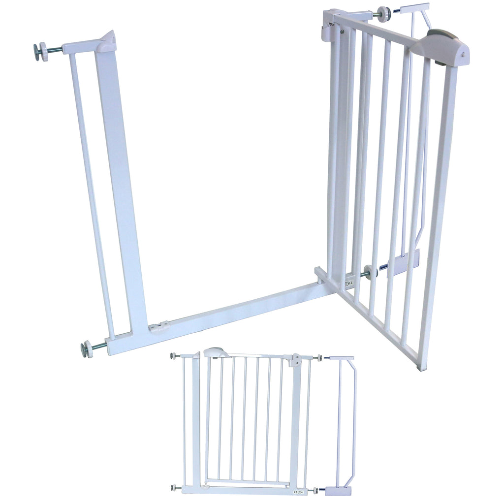 iSafe DeLuxe Stair Gate 90° STOP OPEN & Auto-Close StairGate (10 cm Extension Included) - Baby Travel UK  - 1