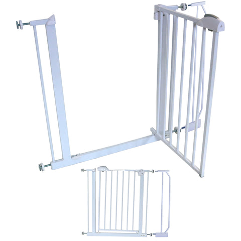 iSafe Safety Stair Gate 90° STOP OPEN & Auto-Close StairGate (10 cm Extension Included)