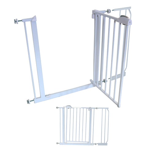 iSafe DeLuxe Safety Stair Gate 90° STOP OPEN & Auto-Close StairGate (20 cm Extension Included)