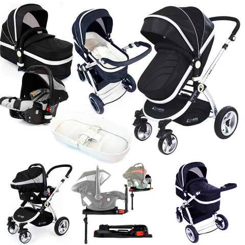 iSafe System - Black Pram Travel System + Bedding + Carseat & iSOFIX Base Package