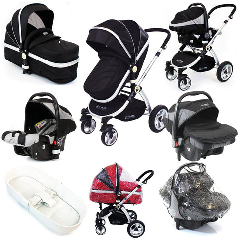 iSafe 3 in 1 Pram System - Black Travel System Complete Package With Bedding