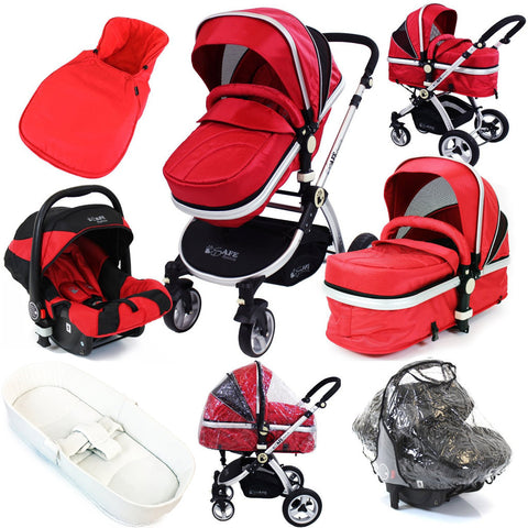 iSafe System - Red Travel Pram System Complete Package With Bedding + Raincover & Footmuff