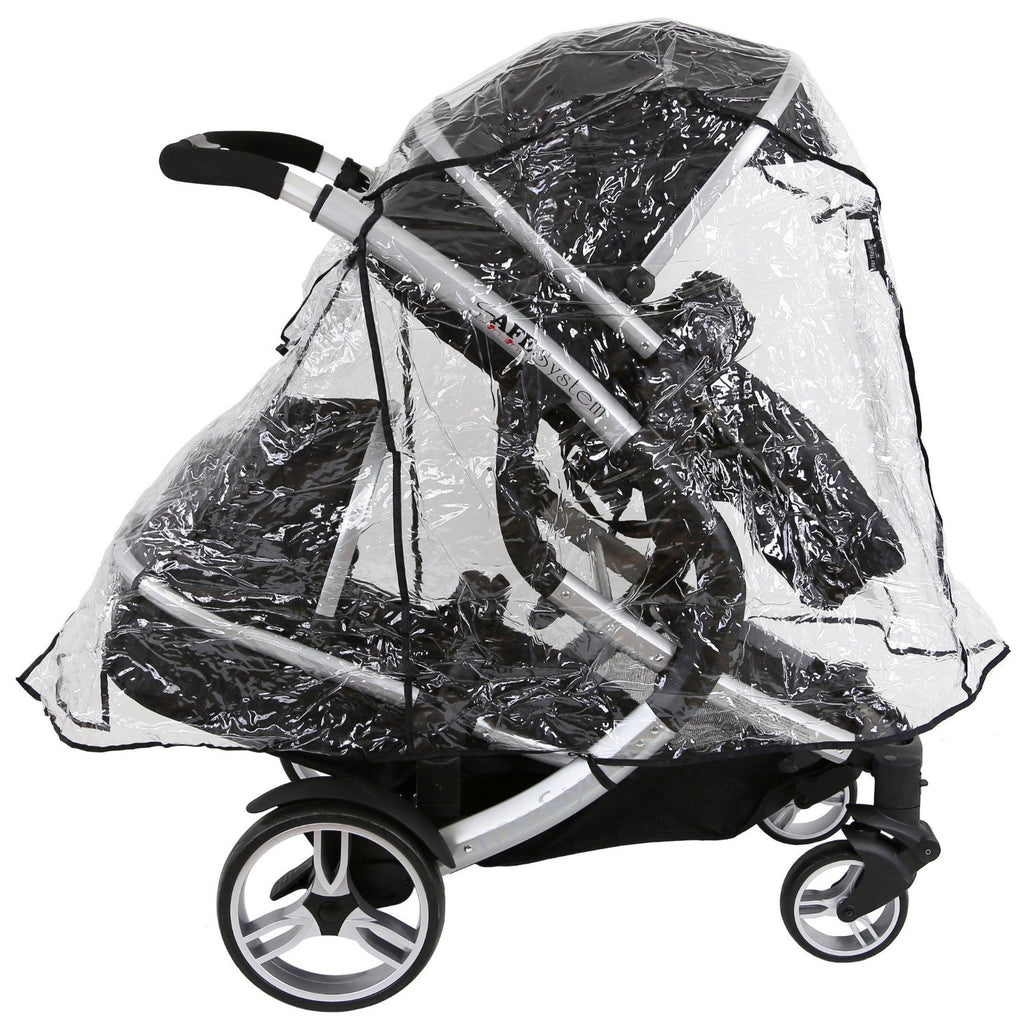 iSafe Tandem Raincover to Fit - Hauck Free Rider Twin Stroller - Baby Travel UK  - 1