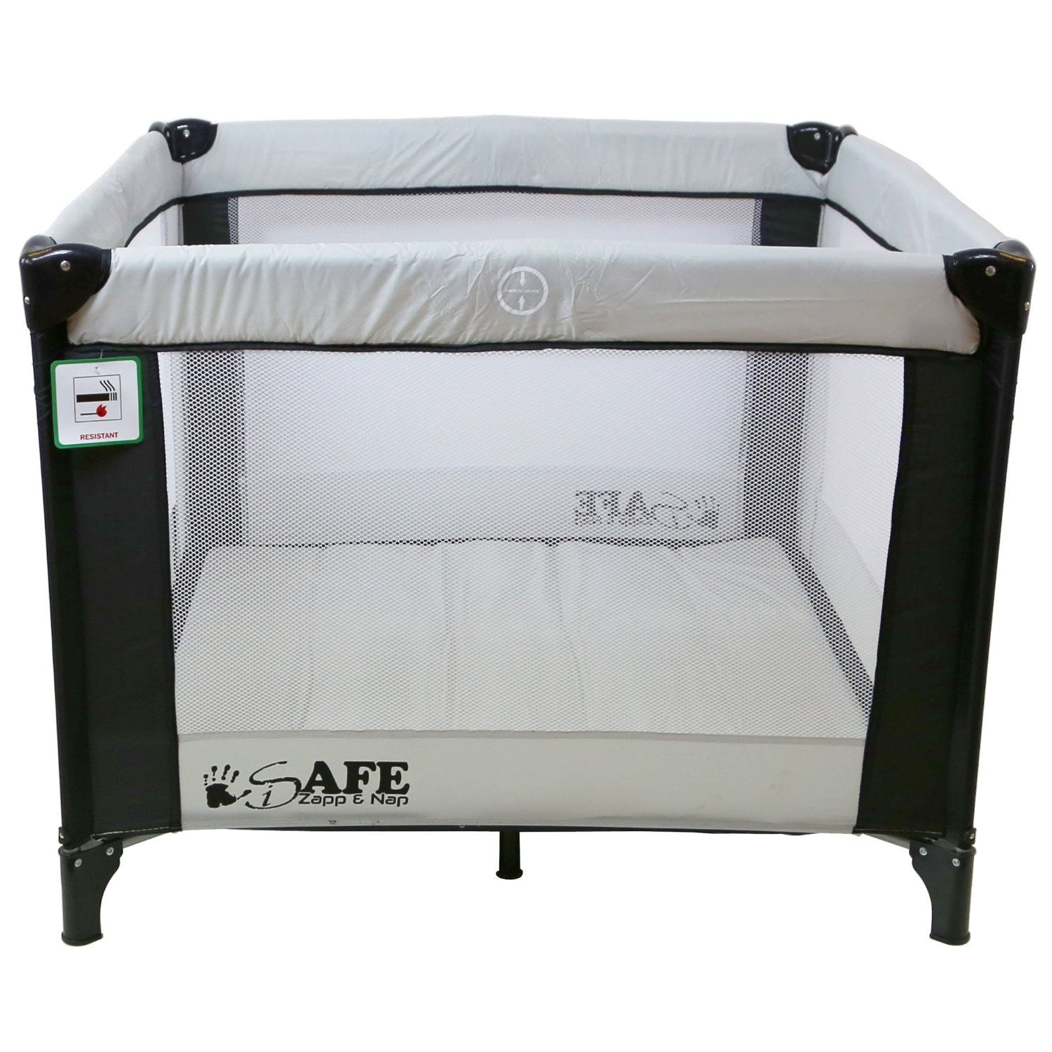 Baby bed for travel - Isafe Zapp And Nap Luxury Square Travel Cot Playpen Black Grey Black