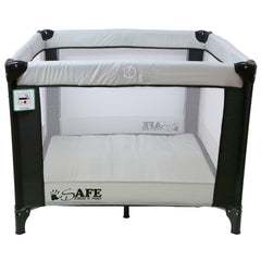 iSafe Zapp And Nap Luxury Square Travel Cot/Playpen - Black/Grey (Black/Grey) 101cm x 101cm Complete With Mattress - Baby Travel UK  - 3