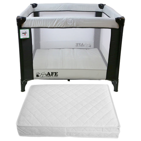iSafe Zapp And Nap Travel Cot Playpen (Black/Grey) 101 x 101cm With Mattress