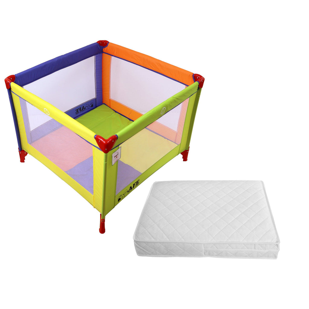iSafe Zapp And Nap Luxury Square Travel Cot/Playpen - Mixed Color (Multicolored) 101cm x 101cm Complete With Mattress - Baby Travel UK  - 1