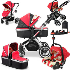 iVogue Apple Luxury 3in1 Pram Stroller Travel System By iSafe (Changing Bag+Car Seat+ISOFIX Base)