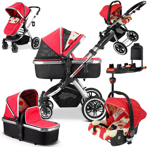 iVogue Apple Luxury 3in1 Pram Stroller Travel System By iSafe (Carseat+ISOFIX Base Included) CLEARANCE