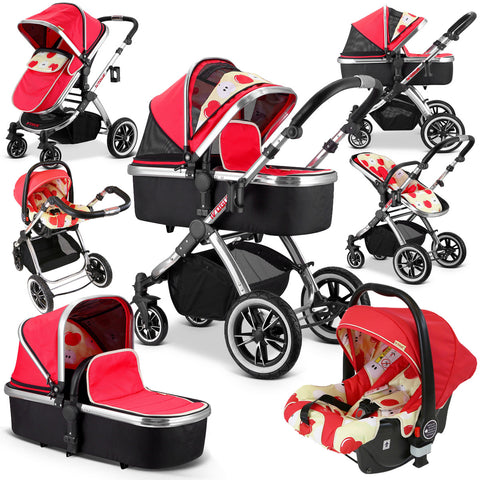 iVogue Apple Luxury 3 in 1 Pram Stroller Travel System By iSafe (Complete With Carseat)