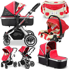 iVogue - Apple Luxury 3in1 Pram Stroller Travel System By iSafe+Changing Bag+Carseat