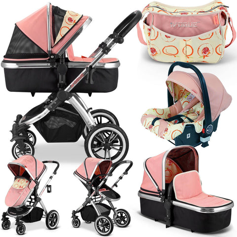 Luxury Complete 3in1 Pram iVogue Peach Stroller Travel System + Changing Bag